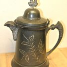 Vintage G. Uher Silver Co, Silverplate Lidded Water Pitcher