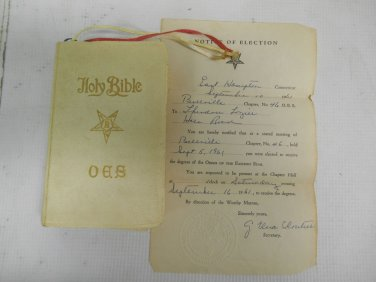Vintage 1941 Masonic OES Holy Bible Presented 1961 Notarized Notice of Election
