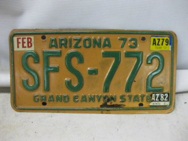 Vintage 1973 ARIZONA GRAND CANYON STATE License Plate, Tag, Marker