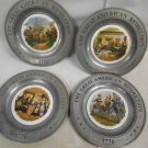 4 Vintage Pewter & Porcelain American Revolution 1776 Collector Wall Plates