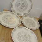 4 Vintage 1964 Full Year Monthly Calendar Anniversary Plates, Gold Leaf