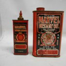 Lot 2 Vintage Marvel Oil Co Cans Marvel Mystery & Lubricating Oil, Advertising