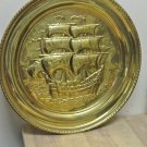 Vintage PEERAGE BRASS Tall Ships Nautical Round Wall Plaque, England