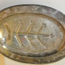 Vtg SHEFFIELD Silverplate Meat Carving Oval Footed Serving Tray, Made in USA