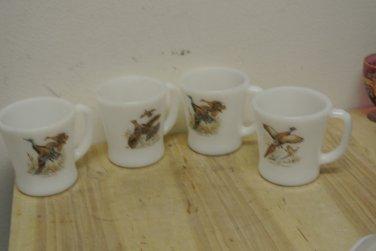 4 Vintage Anchor Hocking Fire King Milk Glass Wild Birds Coffee Mugs