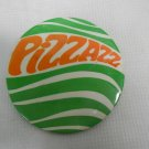 "Vintage Pizzazz Advertising Slogan Pinback, Huge 4"", Disco Style, Green & Orange"