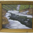 Vintage Framed Oil Painting, Artist E. Moore, Snowy River Bed, Winter