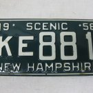 Vintage 1958 NEW HAMPSHIRE Automobile Car License Plates, Scenic