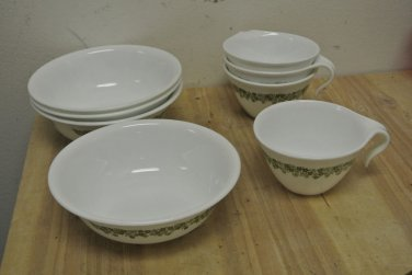 Vintage CORELLE Crazy Daisy Mugs, Cup & Cereal Bowls, White, Green
