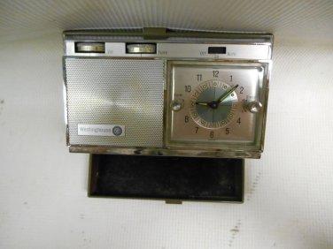Vintage Westinghouse Travel Alarm Clock Radio in Folding Plastic Hard Case Japan