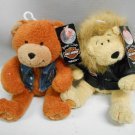 "Pair 2 Harley Davidson Biker Club 2003 Stuffed 6"" Bear & Lion Toys w/ Tags"