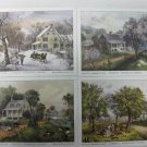 "Lot 4 Currier & Ives Lithographs, American Homestead Four Season Series, 5"" x 7"""