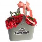 Basket Soap Flower Bouquet - Red