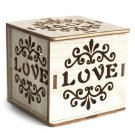 Square Wooden LED Light Shadow Box - Love