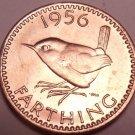 Rare Gem Unc Great Britain 1956 Farthing~Wren~Fantastic~Free Shipping