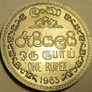 GEM UNC 1963 SRI LANKA(CEYLON) 1 RUPEE~1ST EVER~FREE SH