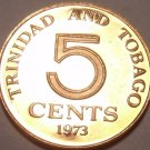 Proof Trinidad & Tobago 1973 5 Cents~Last Year Ever Minted~Only 20,000 Made~F/S