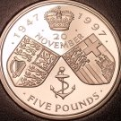 Gem Cameo Proof Great Britain 1997 5 Pounds~Phillip & Elizabeth II Wedding~Fr/Sh