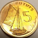 Proof Gambia 1971 5 Bututs~Only 32k Minted~Sailing Vessel~Free Shipping