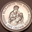 Massive Gem Unc Isle Of Man 1985 Crown~The Queen Mother With Baby Elizabeth~Fr/S