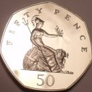 Huge Cameo Proof Great Britain 1982 50 Pence~107,000 Minted~Britannia~Free Ship