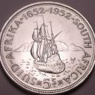Massive Unc Silver South Africa 1952 5 Shillings~1st Year Ever Minted~Free Ship