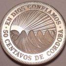 Rare Cameo Proof NicaraGua 1972 50 Centavos~Radiant Sun~20,000 Minted~Free Ship