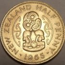 Gem Uncirculated New Zealand 1965 Half Penny~Last Year Ever~Hei Tiki~Free Ship