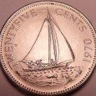 Rare Unc Bahamas 1970 25 Cents~Only 26,000 Minted~Bahaminian Sloop~Free Ship*