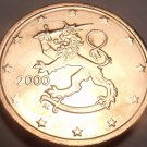 Gem Uncirculated Finland 2000 2 Euro Cents~Standing Lion~New Millenium~Free Ship