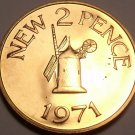 LARGE GUERNSEY 1971 PROOF 2 NEW-PENCE~WINDMILL FROM SARK~ONLY YEAR~FREE SHIPPING