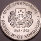 Massive Unc Silver Singapore 1975 Dollar~10th Anniversary Of Independence~Fr/Shi