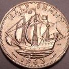 Large Gem Unc Great Britain 1963 Half Penny~Queen Elizabeth II~Excellent~Free Sh