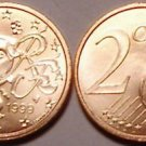 UNCIRCULATED FRANCE 1999 2 EURO CENTS  HUMAN FACE NICE!