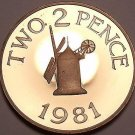 Rare Gem Cameo Proof Guernsey 1981 2 Pence~10k Minted~Windmill from Sark~Fr/Ship