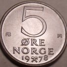 NORWAY BRILLIANT UNC 1978 5 ORE~AWESOME~FREE SHIPPING~