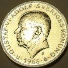 MASSIVE GEM UNC SILVER SWEDEN 1966-U 5 KRONER~FREE SHIP