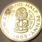 Rare Proof New Zealand 1965 Half Penny~Hei Tiki~25,000 Minted~Free Shipping