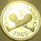 Rare Proof New Zealand 1965 3 Pence~Crossed Patu~25,000 Minted~Free Shipping