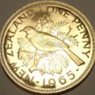 Huge Rare Proof New Zealand 1965 Penny~Tui Bird~25,000 Minted~Free Shipping