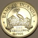 Rare Proof Uganda 1966 Shilling~Only 8,250 Minted~East African Crowned Crane~F/S