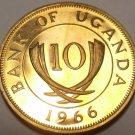 Rare Proof Uganda 1966 10 Cents~Only 8,250 Minted~Crossed Tusks~Free Shipping