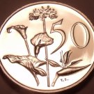 Large Rare Proof South Africa 1978 50 Cents~Only 7,000 Ever Minted~Flowers~Fr/Sh