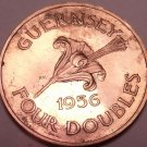 Extremely Rare Large Proof Guernsey 1956 4 Doubles~2,100 Minted~Awesome~Free Shi