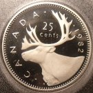 Super Cameo Proof Canada 1982 25 Cents~Caribou~180,908 Minted~Free Shipping