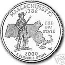 2000-D MASSACHUSETTS BRILLIANT UNC STATE QUARTER