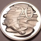 Large Cameo Proof Australia 1986 20 Cents~Duck Billed Platypus~67,000 Minted~F/S