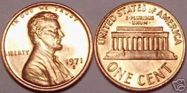 1971-S BRILLIANT UNCIRCULATED LINCOLN CENT~FREE SHIPPING INCLUDED~WE HAVE CENTS~