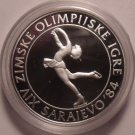 Large Silver Proof Yuoslavia 1983 100 Dinara~Olympic Figure Skating~Free Ship
