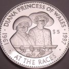 Huge Silver Proof Solomon Islands 1998 $5.00~The Queen And Diana At The Races~FS